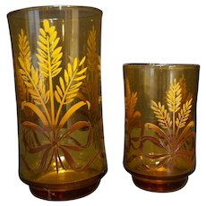 Libbey Amber Ribbon Wheat Tumblers Pair Large Small