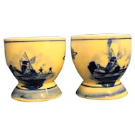 Delft Hand Painted Egg Cups Pair Windmills Floral