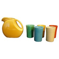 Fiesta Juice Set Yellow Pitcher 5 Tumblers Yellow Turquoise Green Orange 1939