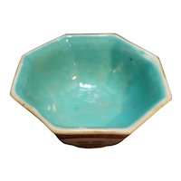 Turquoise Glaze Hand Painted Iron Rust Red Chinese Porcelain Rice Bowl
