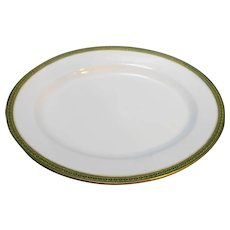Tressemanes & Vogt T&V France Limoges Oval Platter Green Gold Encrusted Rim 11 IN