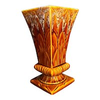 Robinson Ransbottom Brown Drip Tall Square Vase