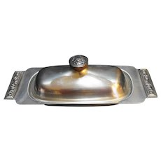 International Decorator Stainless Butter Dish Midcentury Modern