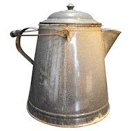 Graniteware Grey Enamel Coffee Pot Camping Cowboy Huge