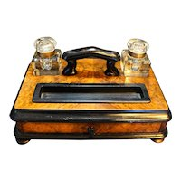 Late 19th Century English Burled Walnut Ebonized Wood Standish