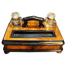 Late 19th Century English Burled Walnut Ebonized Wood Standish