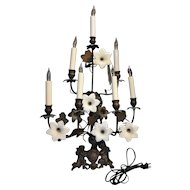 French Midcentury Seven Light Electrified Toleware Wall Sconce