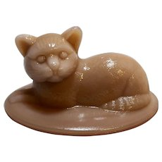 Westmoreland Pink Slag Glass Cat Oval Box lid Only