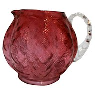 Fenton Cranberry Diamond Optic Quilted Melon Squat Jug Pitcher Art Glass