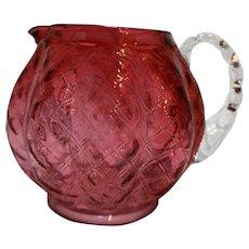 Fenton Cranberry Diamond Optic Quilted Melon Squat Jug Pitcher Art Glass