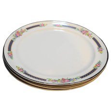 Hall Rose Bouquet Platinum Trim Dinner Plates Set of 3