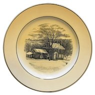 Spode Copeland Washington's Headquarters Valley Forge Black White Transferware Plate