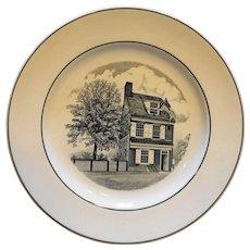 Spode Copeland Betsy Ross House Black White Transferware Plate