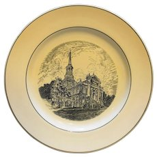 Spode Copeland Old Christ Church Black White Transferware Plate