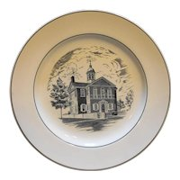 Spode Copeland Carpenters Hall Black White Transferware Plate