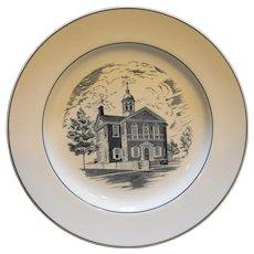 Spode Copeland Carpenters Hall Black White Transferware Plate