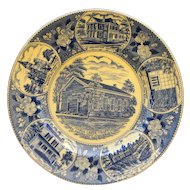 Vincennes University Wood & Sons Staffordshire Blue Transferware Souvenir Plate