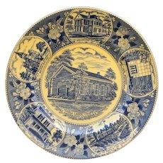 Vincennes University Wood & Sons Staffordshire Blue Transferware Souvenir Plate