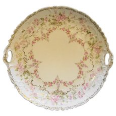 Carl Tielsch CT Germany Antique Porcelain Cake Plate Pink Roses
