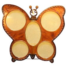 Butterfly Picture Frame Root Beer Marbled Plastic