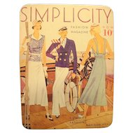 Simplicity Pattern 1933 Magazine Cover Tin 1988 Tin Box Co