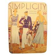 Simplicity Pattern 1933 Magazine Cover Tin 1988 Tin Box Co