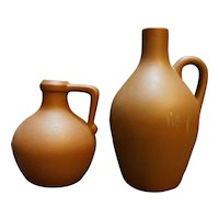 Pigeon Forge Brown Clay Jugs Short Tall Pair