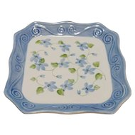 Andrea by Sadek Blue Forget Me Not Floral Porcelain Scalloped Square Plate