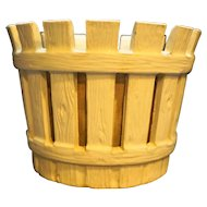 White Barrel Stave Faux Wood Flower Pot JS 1726