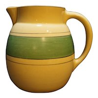 Roseville Creamware Green Band Pitcher 6 1/2 IN