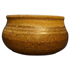 Hand Made Art Pottery Brown Round Planter Flower Pot