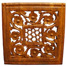 Asian Carved Wood Floral Trivet 6 IN Square