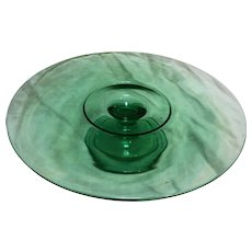 Green Low Footed Depression Glass Pedestal Cake Stand