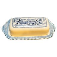 Royal China Currier & Ives The Road Winter Butter Dish