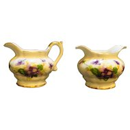 Saji Violets Fancy China Japan Miniature Cream Sugar Pair