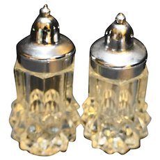 Indiana Glass Diamond Point Clear Salt Pepper Shakers Pair