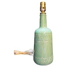 Hazel Atlas Spaghetti String Green White Drizzle Glass Lamp