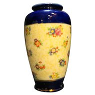 Hand Painted Floral Chintz Cobalt Blue Bands Vase Made in Japan 6 IN