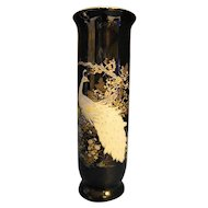Shibata Japan White Peacock Black Porcelain Vase