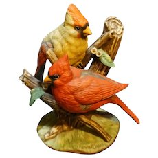 Edwin Knowles The Cardinal Figurine Porcelain Bisque Hand Painted Kevin Daniel