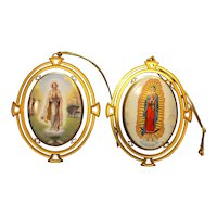 Blessings From Our Lady Fatima Guadalupe Porcelain Ornament Pair Bradford Editions