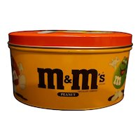 Peanut M&M's Oval Tin Orange Red 1994