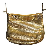 Whiting & Davis Gold Tone Mesh Shoulder Small Evening Bag Vintage 1980s