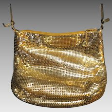 Whiting & Davis Gold Tone Mesh Shoulder Small Evening Bag Vintage 1980s