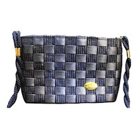 Alma Made in Italy Navy Blue Woven Straw Look Purse Shoulder Bag