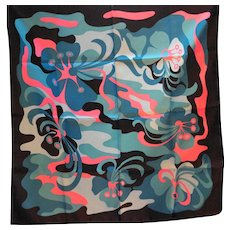 Monique Martin Italy Polyester Abstract Scarf Navy Turquoise Pink 27 IN Square