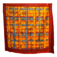 Diane Von Furstenberg African Safari Animals Cotton Scarf 30 IN