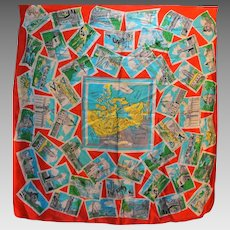 Canada Provinces Map Silk Souvenir Scarf Vintage