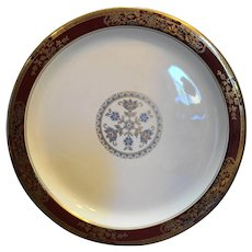 Sterling China Restaurant Ware Medallion Red Rim Blue Floral Gold Trim Dinner Plate