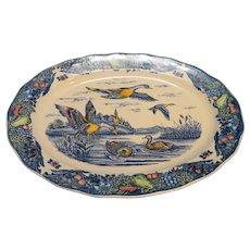 Blue Polychrome Transferware Oval Platter Ducks Game Birds Fruit Border 18 IN